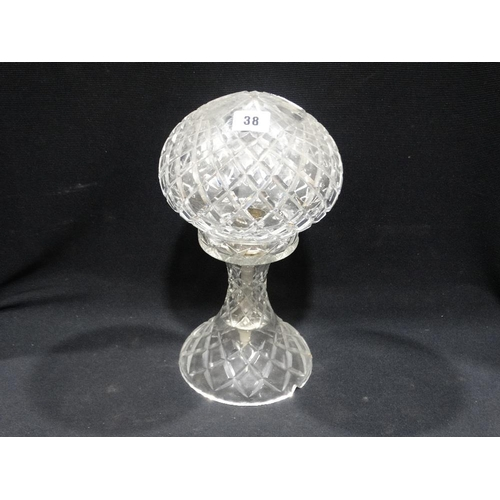 38 - A Circular Based Early 20th Century Cut Glass Mushroom Lamp
