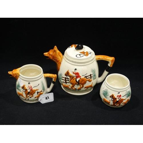 41 - A Mid 20th Century Staffordshire Pottery Fox Hunt Tea Service