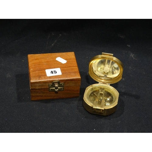 45 - A Reproduction Brass Cased Pocket Sextant