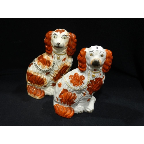 5 - Two Staffordshire Pottery Red & White Seated Dogs, 10