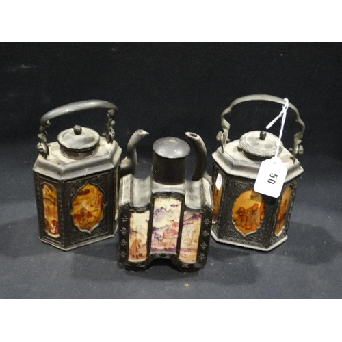 50 - Three Late 20th Century Oriental Decorated Teapots & Tea Caddy