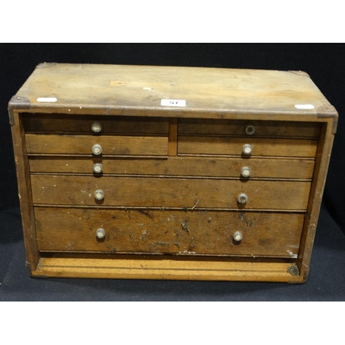 57 - An Early 20th Century Oak Seven Drawer Collectors Cabinet