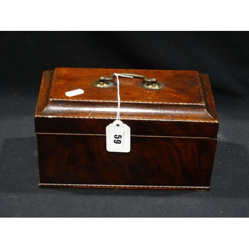 59 - A Georgian Mahogany Tea Caddy With Tinware Inserts