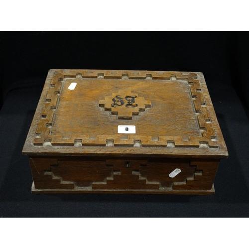 8 - An Edwardian Oak Carved Writing Box