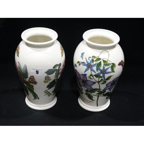 9 - Two Port Meirion Pottery Botanic Garden Pattern Vases, 8.5