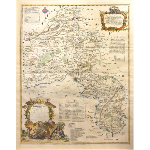 509 - 'A NEW AND IMPROVED MAP OF OXFORDSHIRE', THOMAS KITCHIN, 18TH CENTURY COLOURED MAP ENGRAVING Illustr...