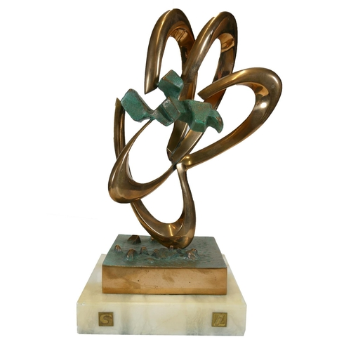 511a - MSU PERS?, 20TH CENTURY POLISHED BRONZE Untitled sculpture, signed and on onyx base. (h 24cm , 28cm ...