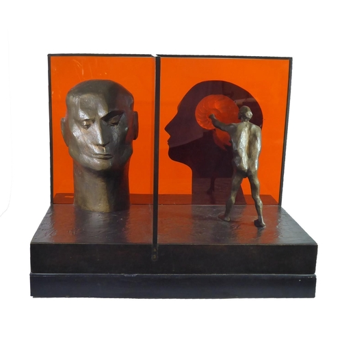 516 - MICHAEL AYRTON, 1921 - 1975, BRONZE AND PERSPEX (6/9) Titled 'The Discovery of Nautilus', on revolvi...