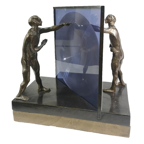 518 - MICHAEL AYRTON 1921-1975, BRONZE AND PERSPEX (6/12) Titled Lens Reflecting, unsigned, on revolving w...