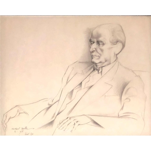 554 - MICHAEL AYRTON, 1921 - 1975, PENCIL Titled 'Portrait Herbert Agar, 1964', signed, dated, framed and ...