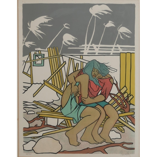 405 - FRANCOIS RAVELLO, 1926 - 2011, A PAIR OF LIMITED EDITION PRINTS Tahitian figures on a beach, numbere...