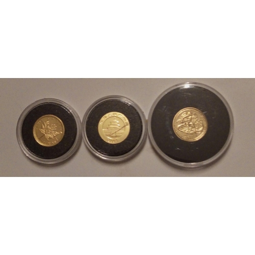 10A - THREE 24CT GOLD 1/20OZ MINIATURE COINS Angel, Panda and Canadian maple leaf, in protective capsules....