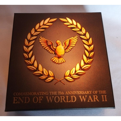 13 - A 24CT GOLD 1/4OZ  PROOF COIN, ISSUED BY THE PERTH MINT, 'END OF WORLD WAR II' In protective capsule...