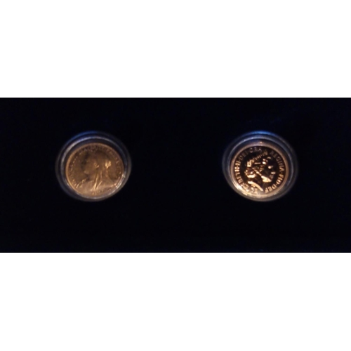 15 - A 22CT GOLD VICTORIA AND ELIZABETH FULL SOVEREIGN PROOF COIN SET, 'THE DIAMONDS JUBILEE SOVEREIGN SE...