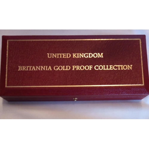 16 - A 22CT GOLD BRITANNIA FOUR COIN PROOF SET, DATED 2003 Comprising a one hundred pound coin, fifty pou...