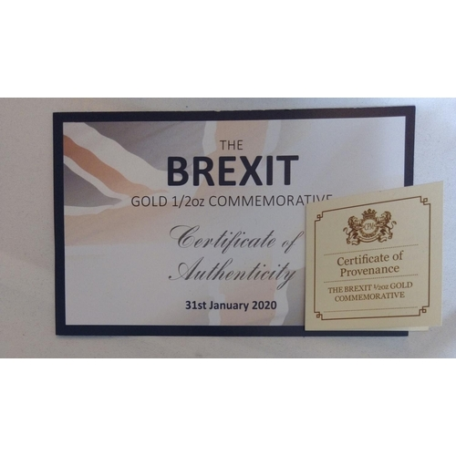 19 - A 24CT GOLD 1/2OZ 'BREXIT' COMMEMORATIVE PROOF COIN, DATED JANUARY 2020  Heraldic Symbols of Great B...