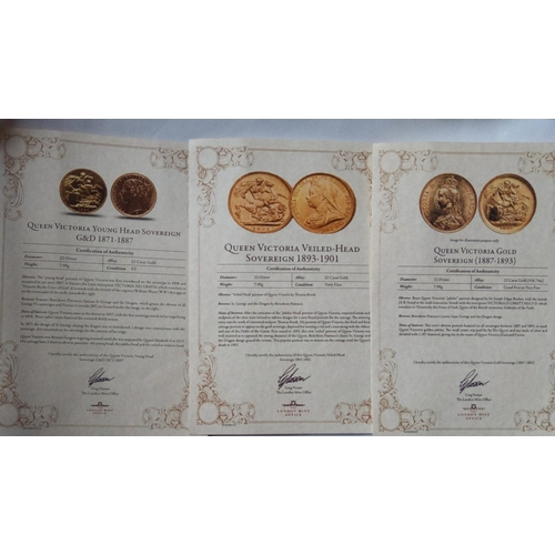 2 - THREE 22CT GOLD VICTORIAN FULL SOVEREIGN COIN SET Comprising a young head sovereign, dated 1872, a v...