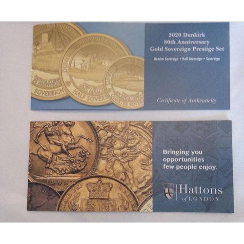 20 - A 22CT GOLD DUNKIRK 80TH ANNIVERSARY GOLD SOVEREIGN PROOF COIN SET, DATED 2020  Comprising a full so...