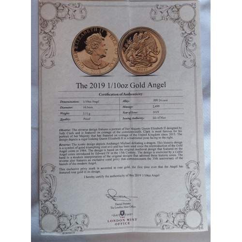 21 - A 24CT GOLD 1/10 OZ ISLE OF MAN ANGEL PROOF COIN, DATED 2019  In a protective capsule and fitted woo...