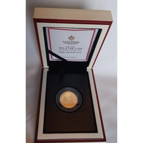 27 - Lot 27 A 24CT GOLD 1/4OZ EAST INDIA COMPANY PROOF COIN, DATED 2020 With Una and The Lion, in a prote...