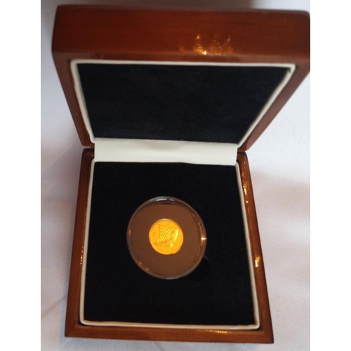 28 - A 24CT GOLD 1/10TH NOBLE PROOF COIN, ISSUED 2012, WORLD'S FIRST ONE TENTH GOLD NOBLE COIN In a prote...
