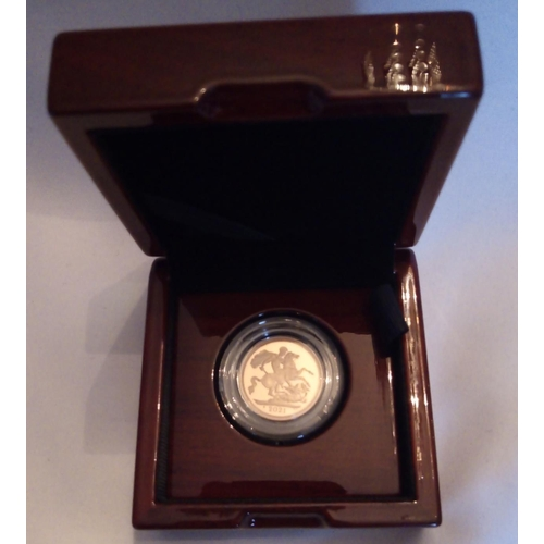 29 - A 22CT GOLD FULL SOVEREIGN PROOF COIN, DATED 2021  With George and Dragon verso, in a protective cap...