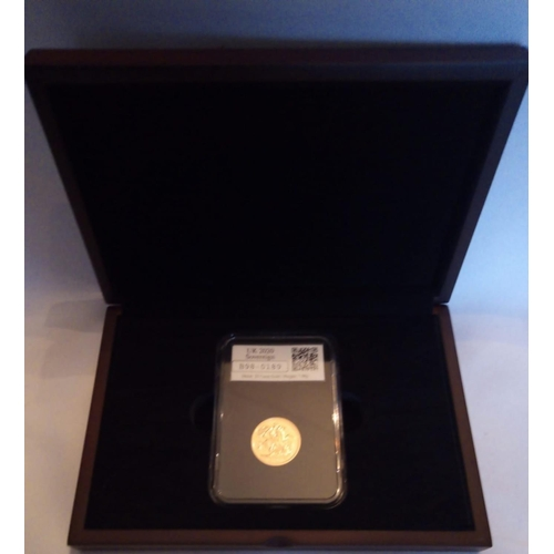 32 - A 22CT GOLD SOVEREIGN  'BREXIT' PROOF COIN, DATED 2020, BREXIT FULL SOVEREIGN DATE STAMP  In a prote...