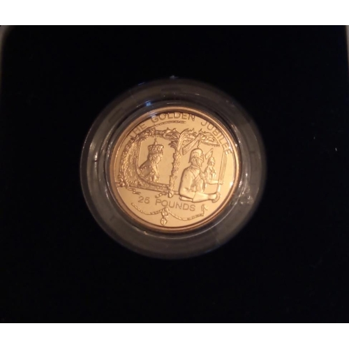 35 - A 22CT GOLD TWENTY-FIVE POUND PROOF COIN, DATED 2002, GUERNSEY GOLDEN JUBILEE  In a protective capsu...