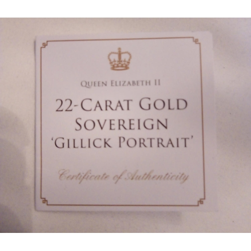 36 - A 22CT GOLD FULL SOVEREIGN GILLICK PORTRAIT COIN, DATED 1967  With George and Dragon verso, in a pro...