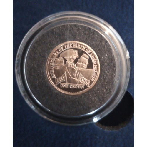37 - A 22CT GOLD 'TRISTAN DA CUNHA' MINIATURE PROOF COIN, DATED 2008, THE WORLD'S FIRST DOUBLE THICKNESS ...