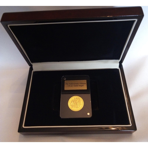 39 - A 24CT GOLD 1/4OZ ANGEL PROOF COIN, DATED 2020, THE ANNIVERSARY EDITION GOLD ANGEL Number 1/555, in ...