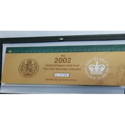 4 - A 22CT GOLD FOUR COIN SOVEREIGN PROOF SET, DATED 2002 Comprising a half sovereign, full sovereign, t...