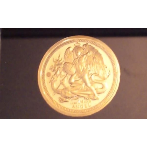40 - A 24CT GOLD 1/4OZ ANGEL PROOF COIN, DATED 2019 in a protective capsule and fitted wooden box, comple...