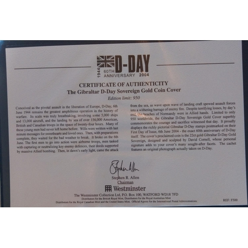 41a - A 22CT GOLD D DAY LANDINGS COMMEMORATIVE COIN COVER, DATED 2004, THE 60TH ANNIVERSARY FIRST DAY COVE...
