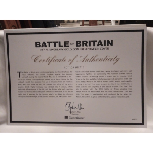 43 - A 24CT GOLD FIVE POUND PROOF COIN COVER, BATTLE OF BRITAIN 80TH ANNIVERSARY GOLD COIN PRESENTATION C...