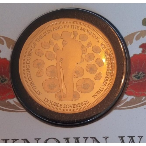 45 - A 22CT GOLD DOUBLE FULL SOVEREIGN PROOF COIN COVER, DATED '2020, CENTENARY OF THE UNKNOWN WARRIOR GO...