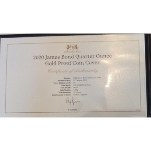 47 - A 24CT GOLD 1/4OZ JAMES BOND PROOF COIN COVER, DATED 2020 In a protective pouch, complete with certi...