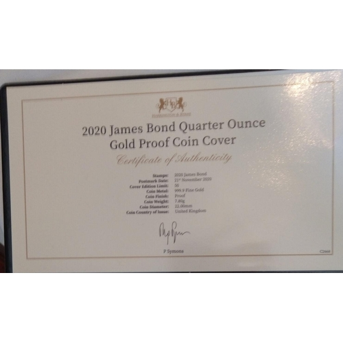 48 - A 24CT GOLD 1/4OZ JAMES BOND PROOF COIN COVER, DATED 2020 In a protective pouch, complete with certi...
