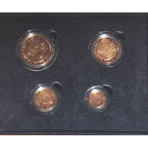 5 - A 22CT GOLD FOUR COIN PROOF SET, DATED 2010  Comprising a one hundred pound coin, fifty pound coin, ...