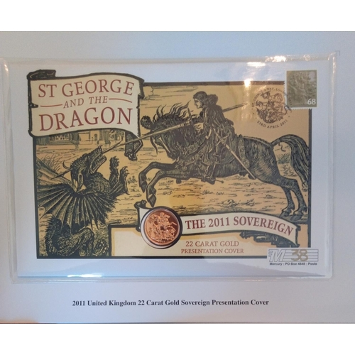 50 - A 22CT GOLD FULL SOVEREIGN PROOF COIN COVER, DATED 2011, LIMITED EDITION ST. GEORGE AND DRAGON  In a...