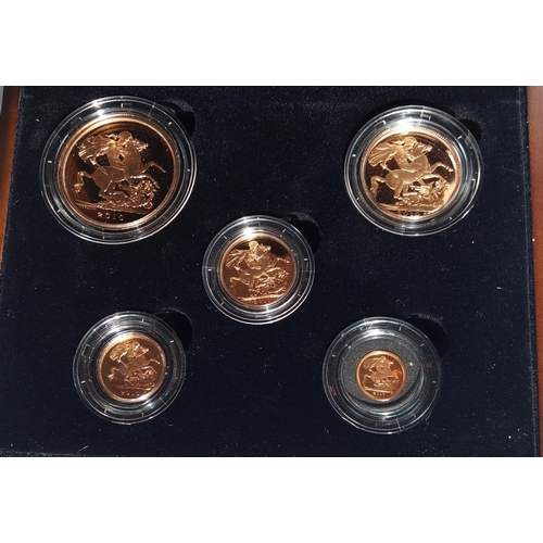 6 - A 22CT GOLD FIVE COIN PROOF SET, DATED 2010 Comprising a five pound coin, double sovereign, sovereig...
