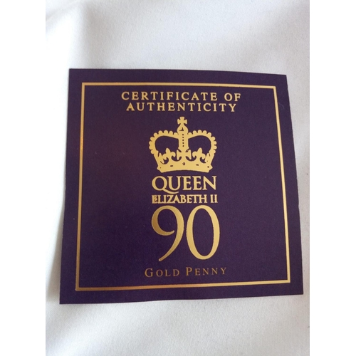 6a - A 9CT GOLD COMMEMORATIVE PROOF COIN, QUEEN ELIZABETH'S 90TH GOLD PROOF PENNY In protective capsule, ...