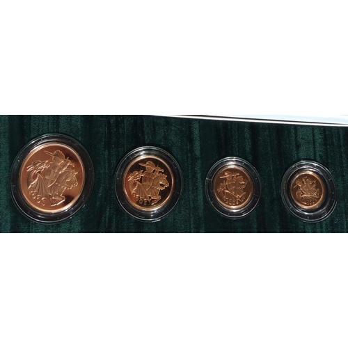 7 - A 22CT GOLD FOUR COIN PROOF SET, DATED 2005  Comprising a five pound coin, double sovereign, soverei...