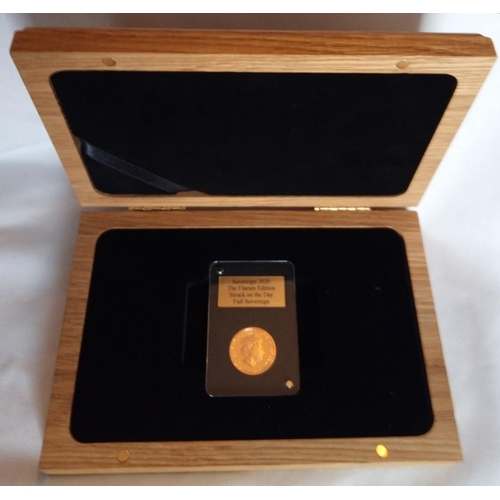 8 - A 22CT GOLD FULL SOVEREIGN PROOF COIN, DATED 2020, THE FLAMES EDITION In a protective capsule and fi...