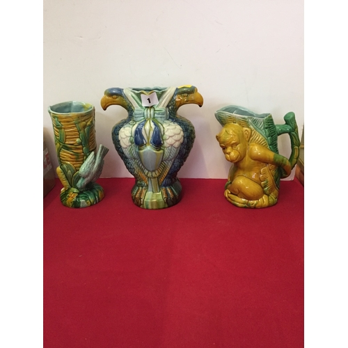 1 - MAJOLICA DOUBLE HEADED EAGLE VASE, MONKEY JUG AND SWEETCORN VASE...