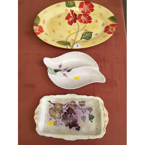 3 - CROWN DERBY SECTIONAL DISH, ROYAL ALBERT SANDWICH PLATE AND ITALIAN OVAL PLATTER...