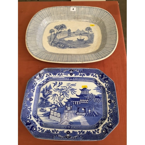 4 - BURLEIGHWARE BLUE AND WHITE WILLOW PATTERN MEAT PLATE AND 19TH CENTURY OVAL MEAT PLATE DEPICTING BUI...