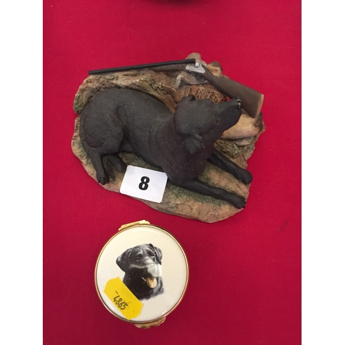 8 - BORDER FINE ARTS GROUP OF LABRADOR, GUN AND DUCK AND POINTERS OF LONDON TRINKET BOX...