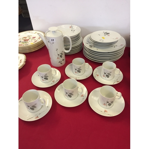 17 - GERMAN BONE CHINA DINNER AND COFFEE SERVICE DECORATED BLOSSOM; 38 PIECES...