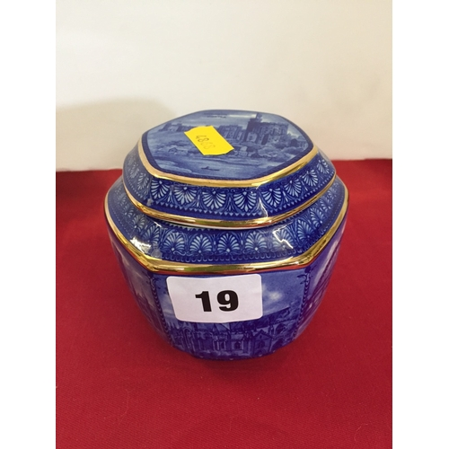 19 - WADE RINGTON'S TEA OCTAGONAL BLUE AND WHITE CADDY WITH LID...